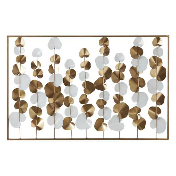 Litton Lane Large 40 in. x 26 in. Metal White And Gold Rectangular Wall Decor - Home Depot