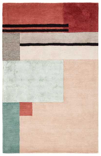 Segment Handmade Geometric Pink/ Red Area Rug (2'X3') - Collective Weavers
