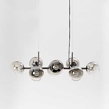 Staggered Glass Chandelier, 8-Light, Silver/Antique Bronze - West Elm