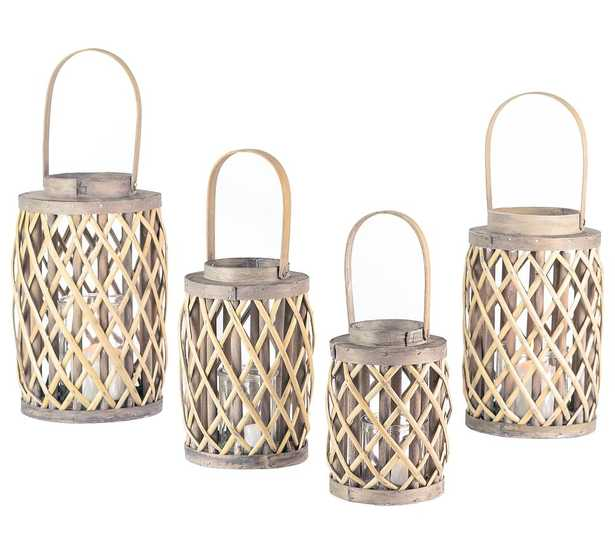 Gray Willow Lanterns With Glass Cylinder, Gray Wash Indoor/Outdoor, Set of 4 - Pottery Barn