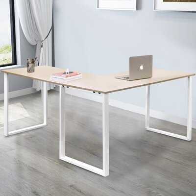 L-Shaped Computer Desk, Large Corner Desk Metal And Wood Pc Laptop Study Table Workstation Gaming Writing Desk For Home Office, Space-Saving, Easy To Assemble, Oak & White - Wayfair