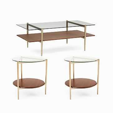 """Mid-Century Art Display 46"""" Coffee Table & 2 Side Tables Set - West Elm"""