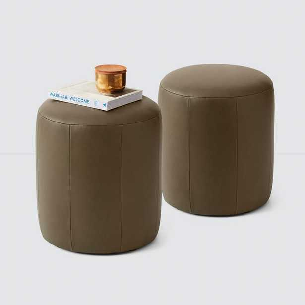 Torres Round Leather Ottoman - Small - Olive - One Ottoman By The Citizenry - The Citizenry