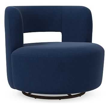 Millie Swivel Chair, Poly, Performance Velvet, Ink Blue, Concealed Supports - West Elm