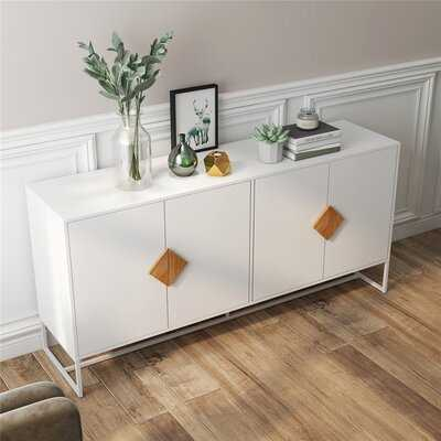 Solid Wood Special Shape Square Handle Design With 4 Doors And Double Storage Sideboard - Wayfair