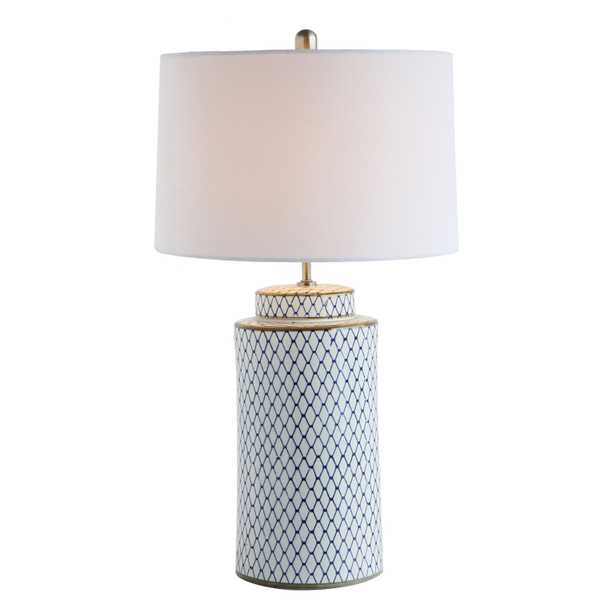 Ceramic Table lamp with Linen Shade, Indigo & White - Nomad Home