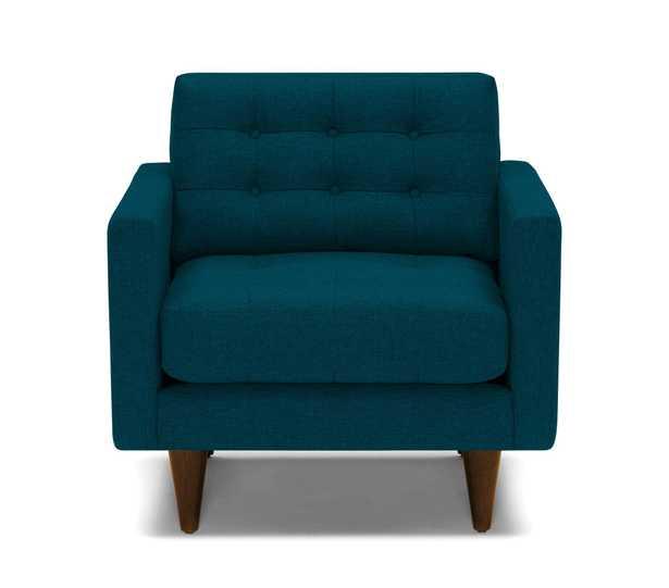 Blue Eliot Mid Century Modern Apartment Chair - Key Largo Zenith Teal - Mocha - Joybird