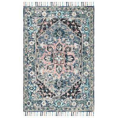 Jaxson Handmade Tufted Wool/Cotton Pink/Blue Rug - Wayfair
