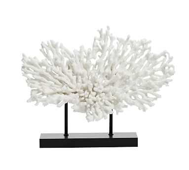 Faux Coral on Black Stand, White, Medium - Pottery Barn