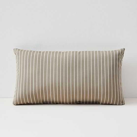 "Sunbrella Indoor/Outdoor Striped Lumbar Pillow, Taupe, Set of 2, 12""x21"" - West Elm"