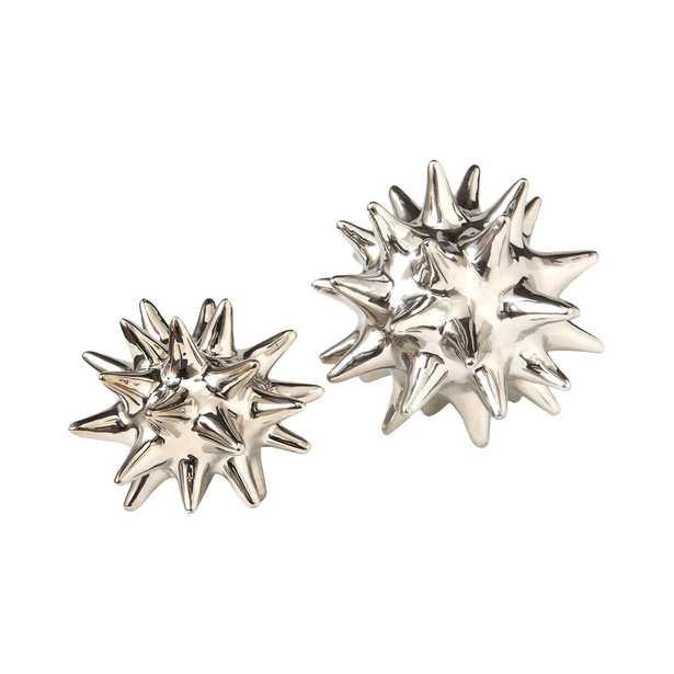Global Views Urchin Shiny Silver Object Size: 5.5'' Diameter - Perigold