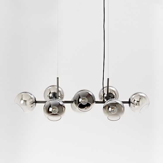 Staggered Glass Chandelier With Light Bulb, 8-Light, Silver & Antique Bronze - West Elm