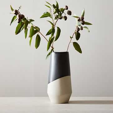 """Half Dipped Stoneware Vase, Slate, Tall Tapered, 13.5"""" - West Elm"""