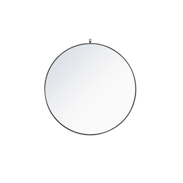 """Elegant Furniture Timeless Home 42""""H X 42""""W Modern Round Metal Framed Wall Mirror with Decorative Hook in Black - Home Depot"""
