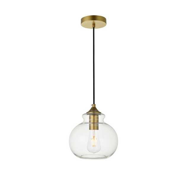 ELEGANT FURNITURE & LIGH Timeless Home Dylan 1-Light Brass Pendant with 7.9 in. W x 7.3 in. H Clear Glass Shade - Home Depot