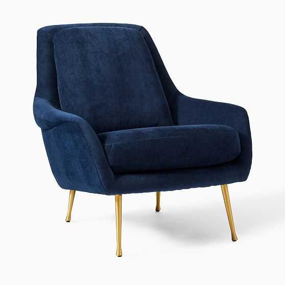 Lottie Chair Poly Ink Blue Distressed Velvet Brass - West Elm