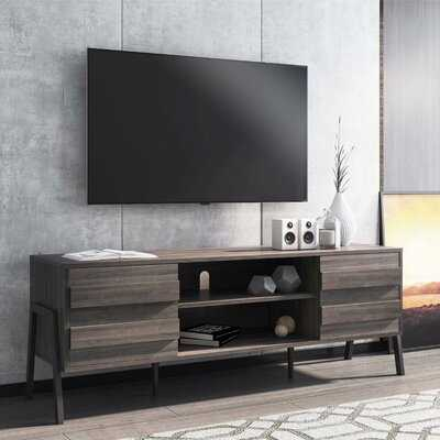 WAMPAT  Mid-Century Modern TV Stand For Up To 65 Flat Screen , Wood TV Console Storage Cabinet, Rustic Home Media Entertainment Center, Rustic Oak - Wayfair