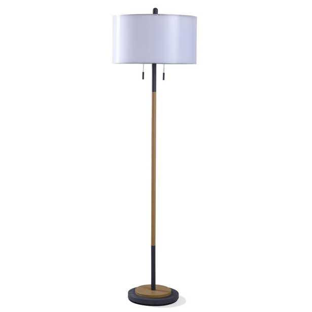 StyleCraft Lari 63 in. Industrial Black Metal and Wood Floor Lamp with Double Shade - Home Depot