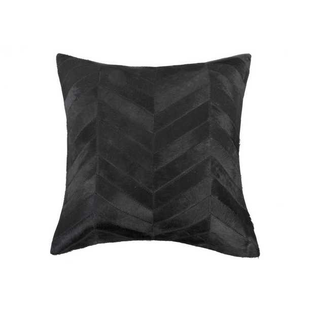HomeRoots Josephine Black Striped 18 in. x 18 in. Cowhide Throw Pillow - Home Depot