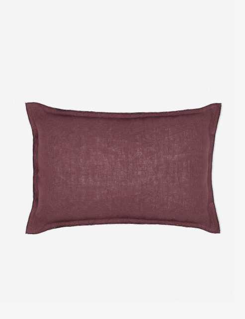 Arlo Linen Lumbar Pillow, Aubergine - Lulu and Georgia
