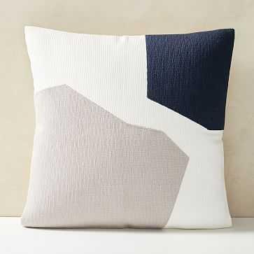 "Corded Minimalist Geo Pillow Cover, 20""x20"", Midnight - West Elm"