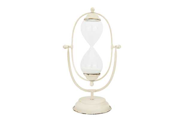 Decorative Antique Cream Metal Hourglass with White Sand - Nomad Home
