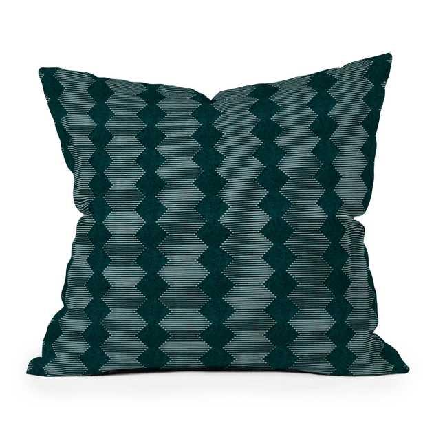 "Diamond Mud Cloth Dark Teal by Little Arrow Design Co - Outdoor Throw Pillow 20"" x 20"" - Wander Print Co."
