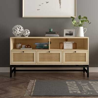 Quaint&Rustic TV Stand,3 Drawer With Rattan Elements,Unique And Natural TV Cabinet,Black Metal Frame,With Cable Management ,Can As Side Cabinet ,Locker,For Living Room Or Bedroom - Wayfair