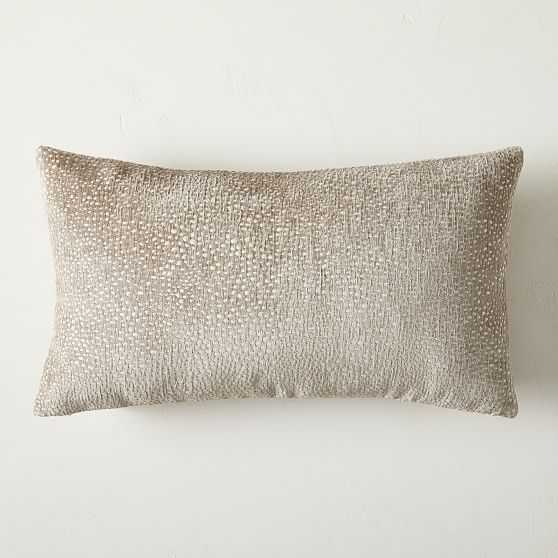 Dotted Chenille Jacquard Pillow Cover, Dark Tan, 12x21, Set of 2 - West Elm