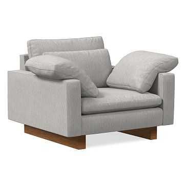 Harmony Chair and a Half, Performance Coastal Linen, Platinum, Dark Walnut - West Elm