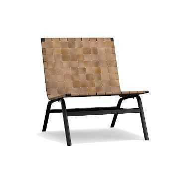 Shay Leather Armchair, Light Caramel - Pottery Barn