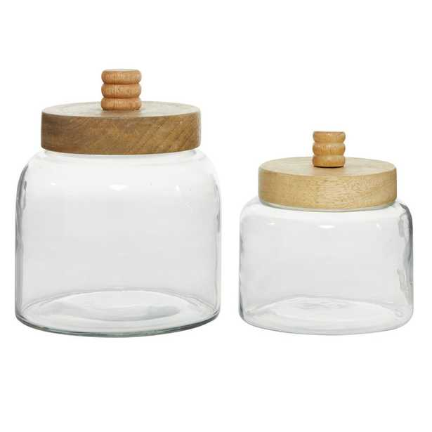 Cylindrical Clear Glass Jar with Brown Wood Lid (Set of 2) - Home Depot