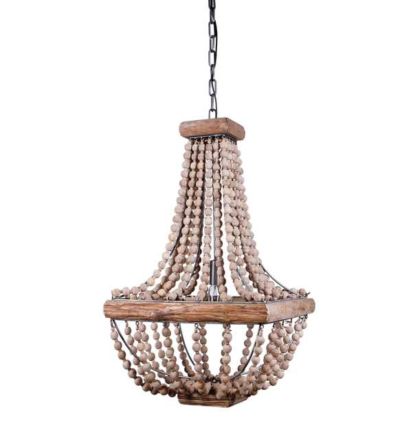 Wood & Metal Framed Chandelier with Wood Bead Draping - Nomad Home