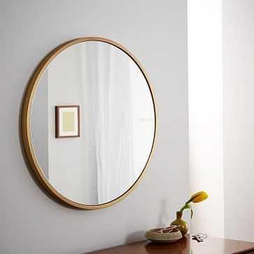 Metal Framed Mirror, Antique Brass, Round - West Elm