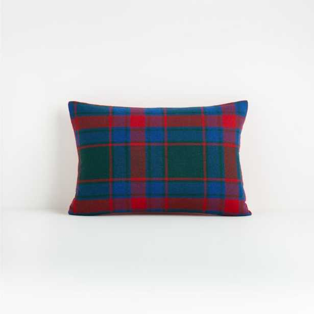 """Dara 18""""x12"""" Plaid Pillow with Feather-Down Insert - Crate and Barrel"""