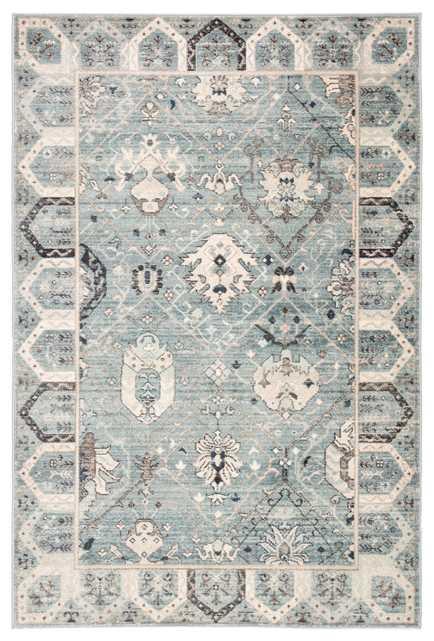 "Lennox Oriental Light Blue/ Ivory Area Rug (7'8""X10'3"") - Collective Weavers"