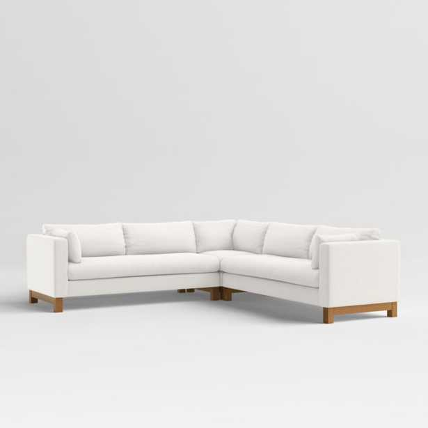 Pacific Bench 3-Piece L-Shaped Sectional with Wood Legs - Crate and Barrel