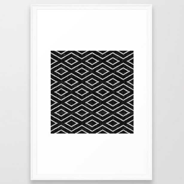 Stitch Diamond Tribal Print In Black And White Framed Art Print by Becky Bailey - Scoop White - LARGE (Gallery)-26x38 - Society6