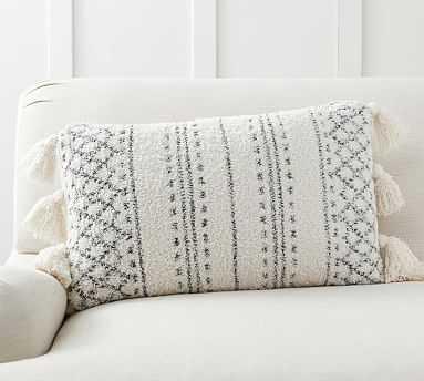 "Cozy Tassel Trellis Lumbar Pillow Cover, 16 x 26"", Ivory Multi - Pottery Barn"