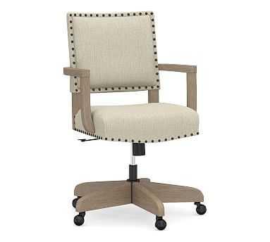 Manchester Upholstered Swivel Desk Chair, Seadrift Frame, Chenille Basketweave Oatmeal - Pottery Barn