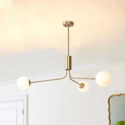 3 Light 95Cm Sputnik Style Milky White Glass Solid Brass Chandelier - Wayfair