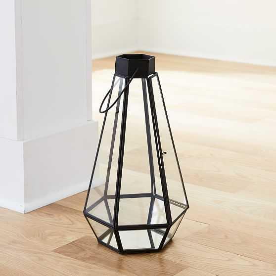 Faceted Lantern, Tall, Antique Bronze - West Elm