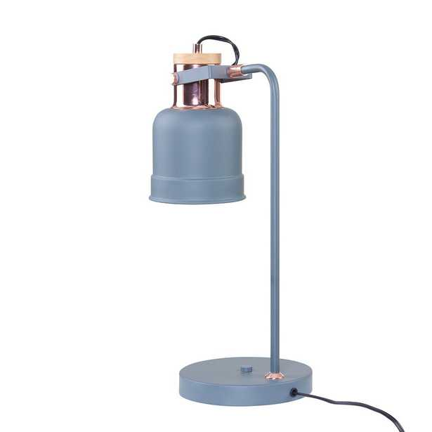 Southern Enterprises Yanna 19 in Gray with Rose Gold Study Lamp - Home Depot