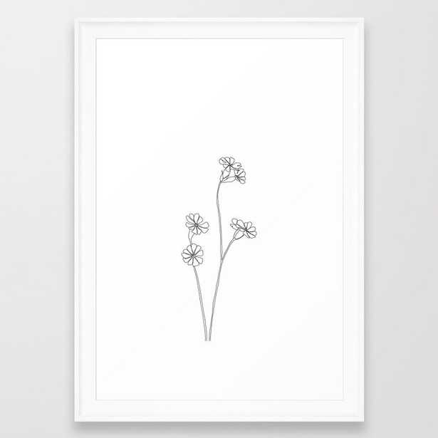 Wild Flower Botanical Drawing - Ilana Framed Art Print by The Colour Study - Scoop White - SMALL-15x21 - Society6