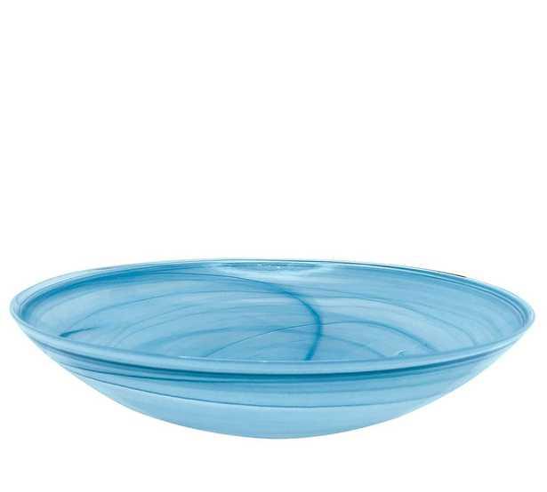 Alabaster Glass Serving Bowl - Aqua - Pottery Barn