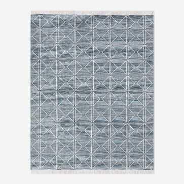 Reflected Diamonds Indoor/Outdoor Rug, Blue Teal, 5'x8' - West Elm