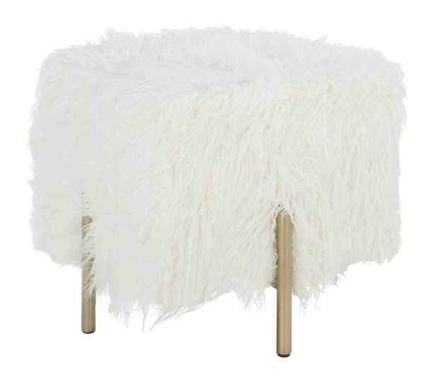 Momina Faux Fur Square Ottoman - White/Brass - Arlo Home - Arlo Home
