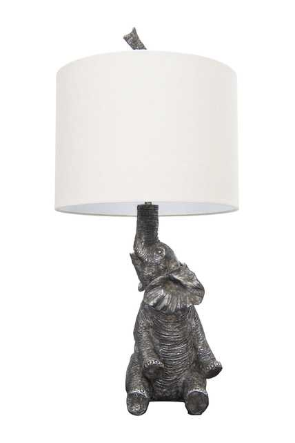 Resin Elephant Shaped Table Lamp with Linen Shade - Nomad Home