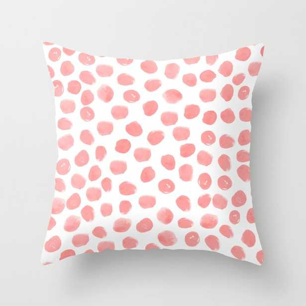"""Natalia - Abstract Dot Painting Dots Polka Dot Minimal Modern Gender Neutral Art Decor Couch Throw Pillow by Charlottewinter - Cover (16"""" x 16"""") with pillow insert - Indoor Pillow - Society6"""