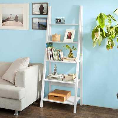 Ladder Shelf Bookcase With Five Shelves White BHT Approx .: 64X180x39cm - Wayfair